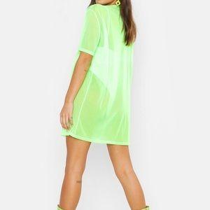 🌸2/$20 NWT Boohoo Neon Oversized Mesh T Dress 4